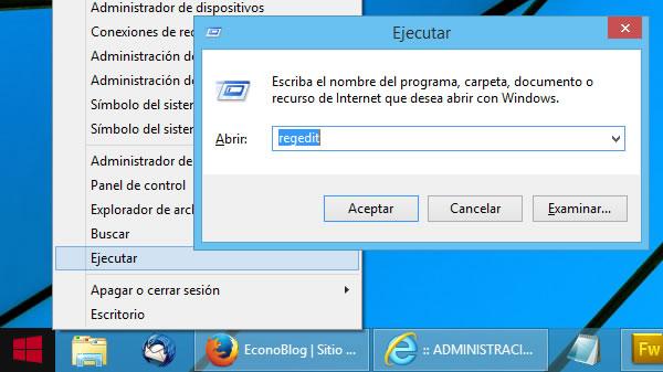 Ejecutar Regedit en Windows 8