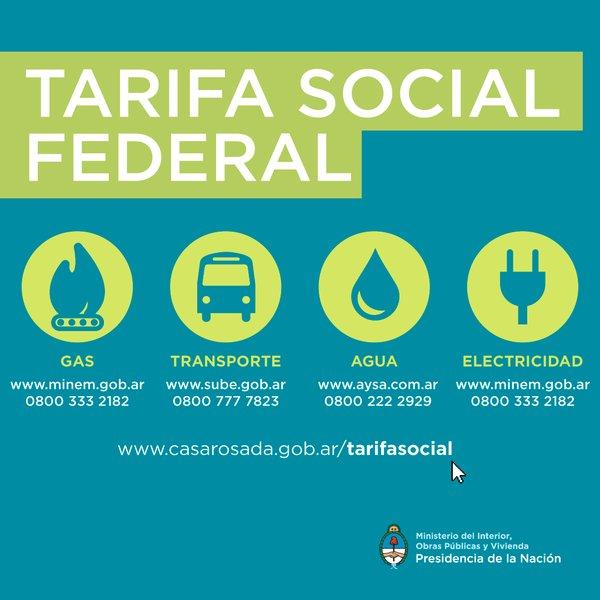 Números de teléfonos para la Tarifa Social Federal en gas, transporte público, agua y luz.